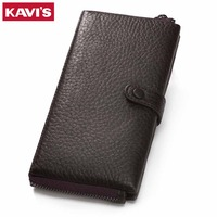 KAVIS Genuine Leather Women Wallet Female Long Clutch Walet Portomonee Rfid PORTFOLIO Perse Card Holder Handy