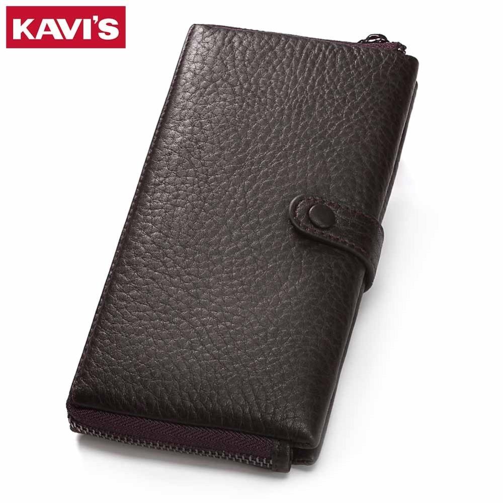 KAVIS Genuine Leather Women Wallet Female Long Clutch Walet Portomonee Rfid PORTFOLIO Perse Card Holder Handy lady Coin Purse