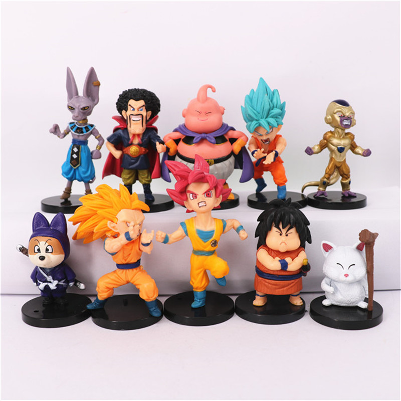 PVC 10pcs/set Dragon Ball Z Action Figure Toy, Super Saiyan Goku Buu Japanese Model Figures, Hot Toys, Anime Brinquedos Boy Gift 7cm large size jp hand done animation crystal dragon ball set genuine model toy gift action figures anime toys kids