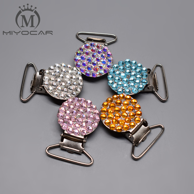 MIYOCAR Bling Sliver Pink Green Rhinestone Pacifier Clips/Dummy Clip/holder Teethers Clip Baby Soother Chain For Baby