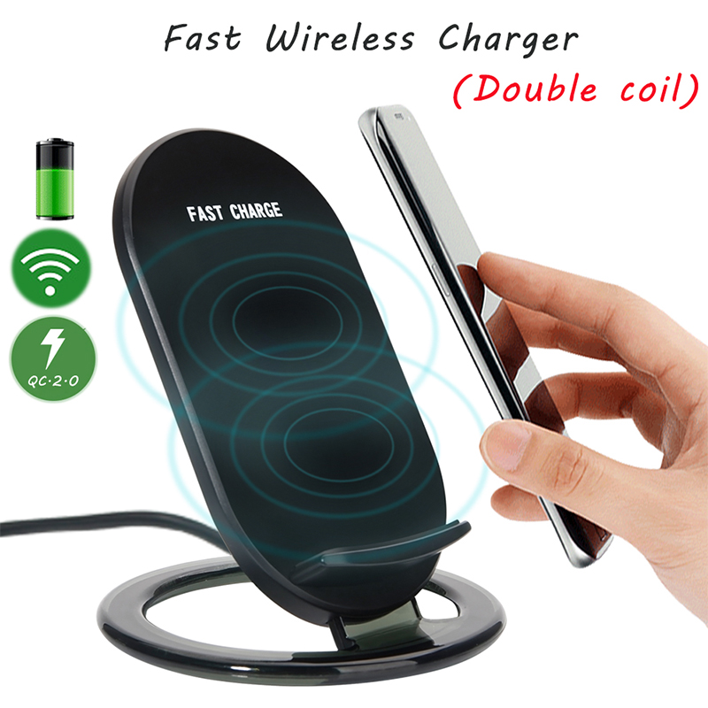 YFW Qi Fast Wireless Charger 2 Coils Charging Pad Stand