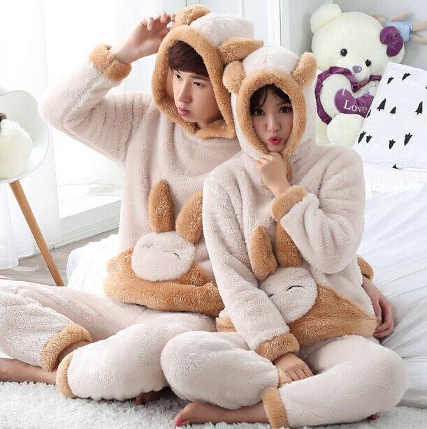 Unisexe Hiver à manches longues chaud mignon lapin animaux de Nuit pyjamas