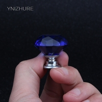 30mm 10PCS Crystal Blue Diamond Cabinet Kitchen Handles For Interior Doors Furniture Glass Door Drawer Handle