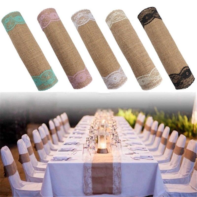 280x30 Cm Thuis Textiel Vintage Jute Kant Tafelloper Natuurlijke Jute Land Party Banket Bruiloft Decoratie Topkwaliteit