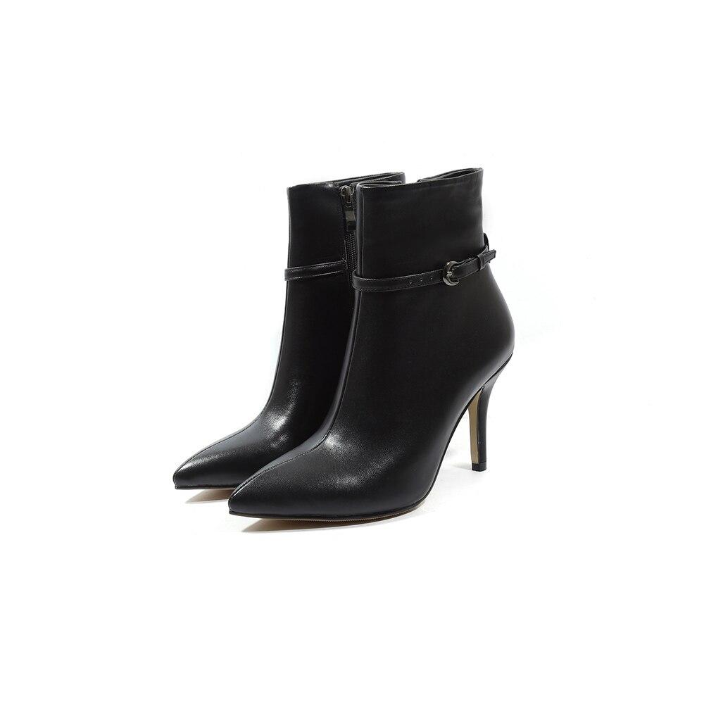 Arden Furtado 2018 ฤดูใบไม้ผลิฤดูใบไม้ร่วงรองเท้าส้นสูงรองเท้าส้นสูง pointed toe buckle หนังแท้สีเทา beige matin boots ขนาด 33 40-ใน รองเท้าบูทหุ้มข้อ จาก รองเท้า บน   2