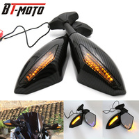 1 pairs Motorcycle Rearview Mirror LED Turn Signals Integrated Mirrors For Honda Kawasaki Suzuki CSL2017