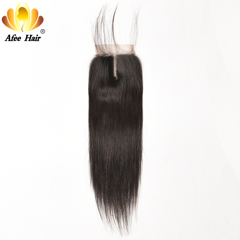 Ali Afee Hair Brazilian Straight Lace Closure Natural Color 4*4 Swiss Lace Closure Remy Hair 130% Density with Babe Hair