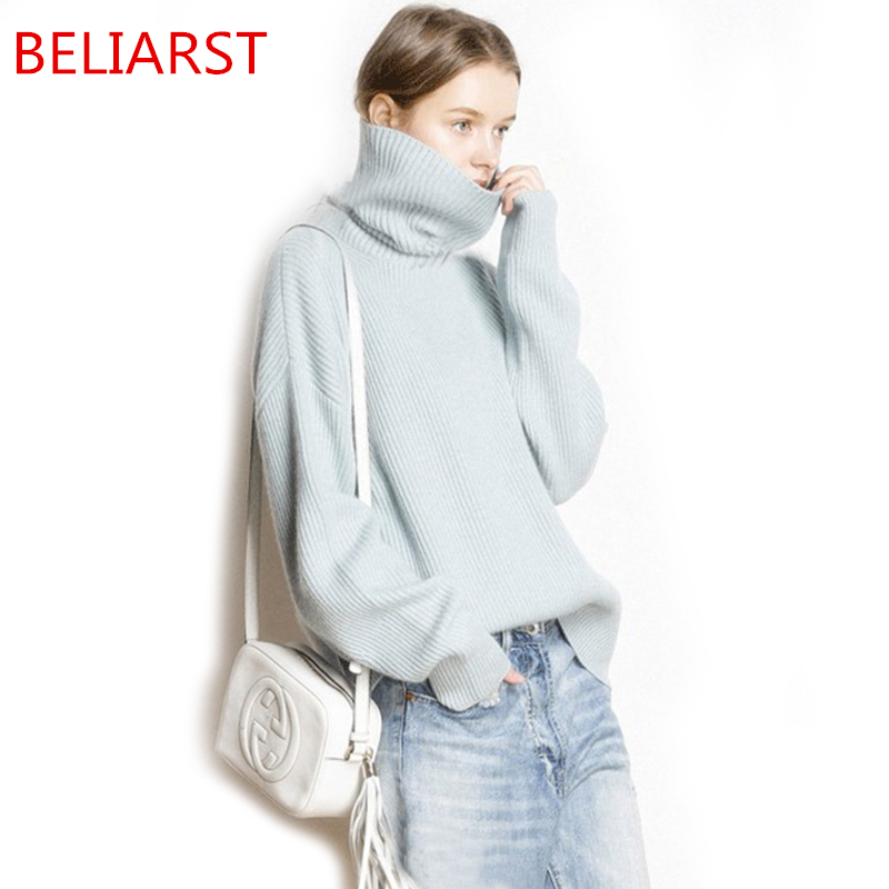 BELIARSTautumn And Winter Thick High Collar Pullover Women Loose Cashmere Sweater Fashion Warm Large Size Knit Bottoming Sweater