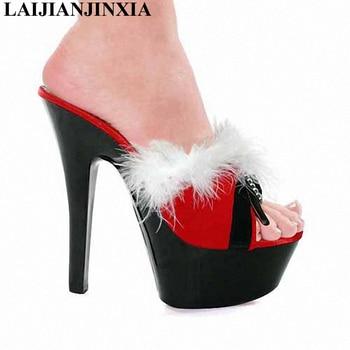 LAIJIANJINXIA Women Sexy Nightclub 15CM High Heels Feathers Slippers Party Queen Shoes Dancing Shoes Open Toe Pole Dance Shoes