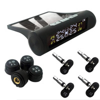 Smart Internal Car TPMS Tyre Pressure Monitoring System Solar Power Digital LCD Display Auto Security External