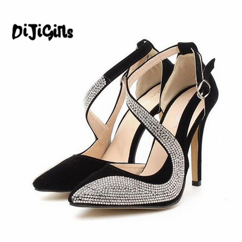 New fashion sexy women pumps spring summer vintage rhinestone ultra high heels shoes women pointed toe sandals for women fashion new spring summer med high heels good quality pointed toe women lady flock leather solid simple sexy casual pumps shoes