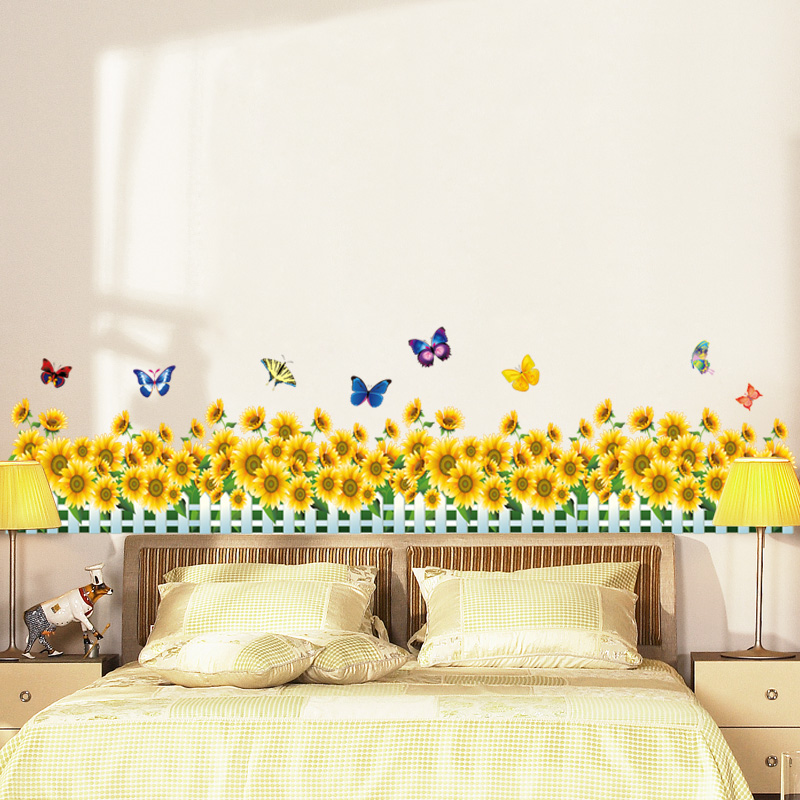 Us 3 37 28 Off Sunflower Fences Skirting Wall Stickers Living Room Bedroom Decals Art Home Decor Colorful Erfly Vinyl Wallpaper Dc42 In
