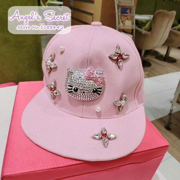Moda Hello Kitty Snapback para flores cristal mujeres Hip Hop Gorras de  béisbol Gorras Planas Casquette 0902eb0c880
