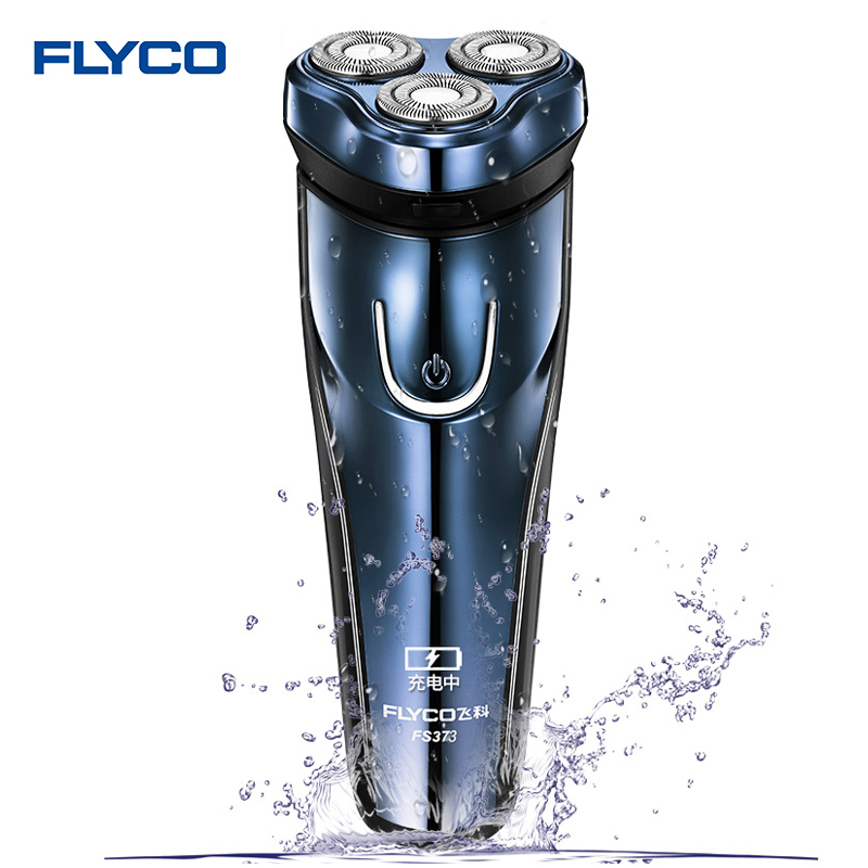 Flyco Men's Electric Shaver Dark Blue Rechargeable Portable Razor shaving Machine Washable Triple Blade FS373 Electric Shaver