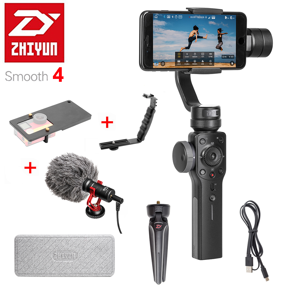 Zhiyun Suave 4 Smartphones Handheld 3-Axis Gimbal Estabilizador VS Zhiyun Lisa Q modelo para o iphone X 8 Plus 8 7 6 S Samsung S9 S8 S7