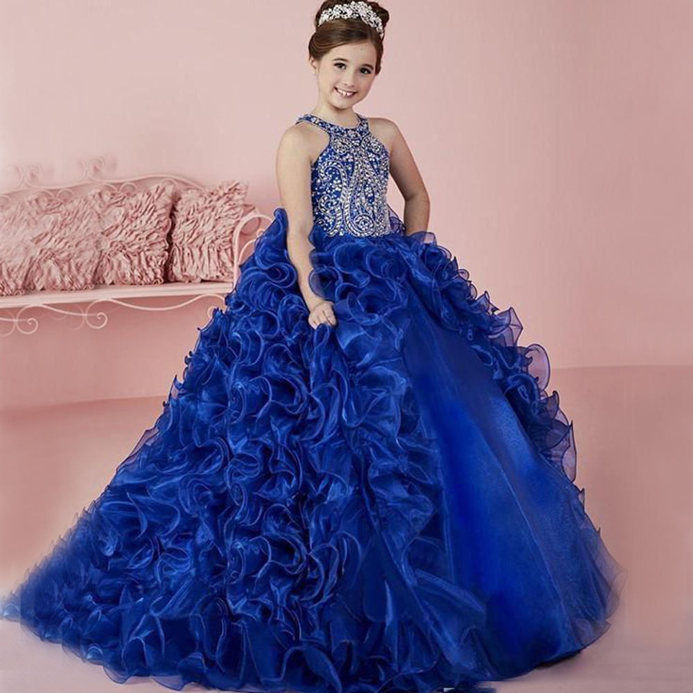 2017 New Arrival Royal Blue Lace Up Sleeveless Girl Pageant Dress Heavily Crystal Beaded Keyhole Back Vestidos de Comunion 0-12Y open back lace up graduated blue dress