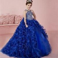 2018 Королевский синий Платья для маленьких девочек без рукавов для девочек Праздничное платье Кристалл бисера Детские бальные платья Vestidos de