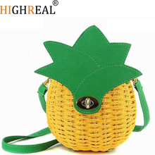 Straw Bag Women Beach Bag Hand-Made Woven Circular Shoulder Handbag Messenger Yellow Bags New Cute Fruit Travel Pineapple Purse