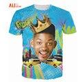 Alisister Verão Estilo Tão Fresco Will Smith T-Shirt Sexy Tee Fresh Prince de Bel Air 3d T Camisa Camiseta Básica Para Mulheres Dos Homens Cobre