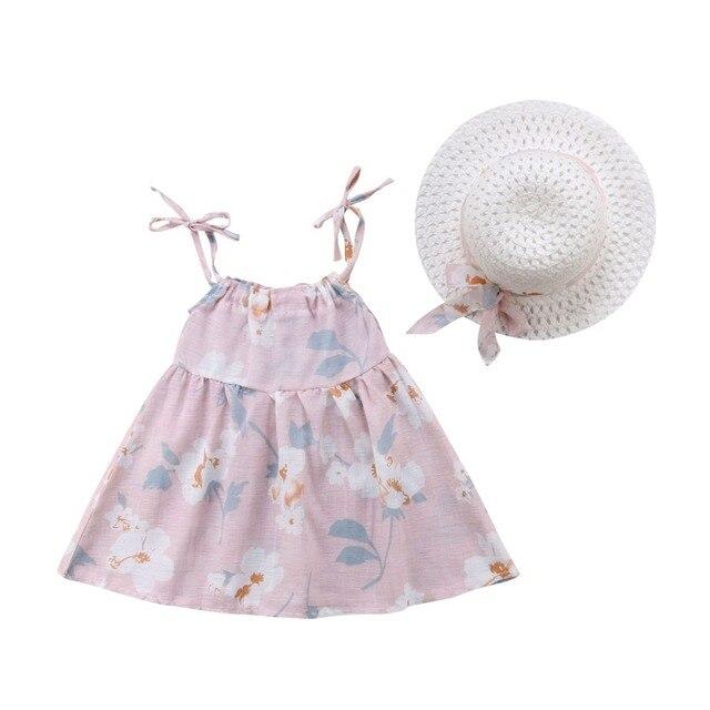 Newborn Toddler Girls Summer Floral Tutu Dress Vestidos Kids Baby Girl Princess Dresses Sundress Hats 2PCS Clothing Set Sunsuit 1