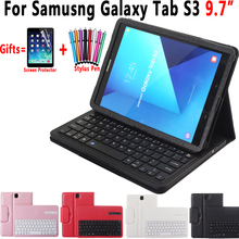 Premium Litchi Pattern Leather Foldable Bluetooth keyboard Holster Cover For Samsung Galaxy Tab S3 9.7  T820 825 Case Cover