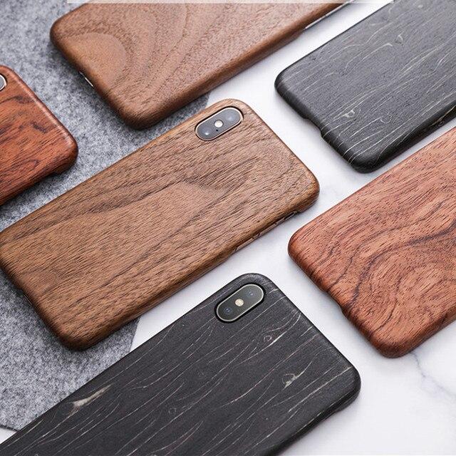 Funda para Apple iPhone 12 Mini 11 Pro X XS Max XR madera de nogal enonía palisandro caoba parte posterior de madera