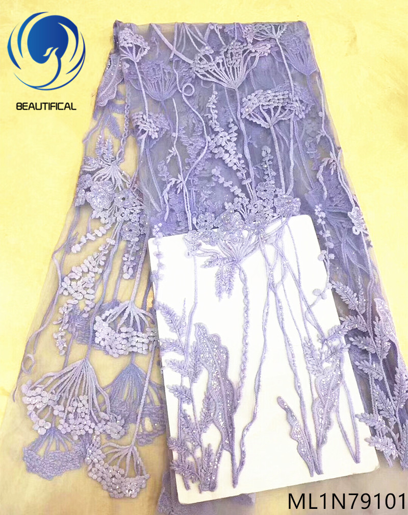 Beautifical purple lace fabric net lace fabric wholesale guangzhou lace fabric high quality 5 yards lot nigerian fabrics ML1N791 in Lace from Home Garden