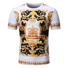 Summer New Fashion Europe Court 3D Printed Mens Short Sleeve T-Shirt Casual O-Neck Floral Tees Of Various Colors And Styles