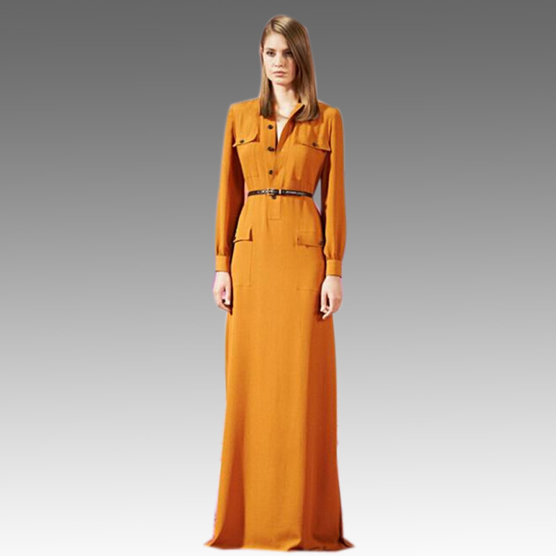 Orange Chiffon Maxi Shirt Dresses Elegant Women Long Summer Dress ...