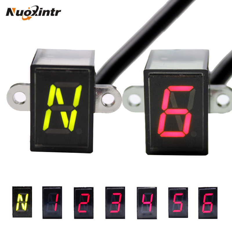 Nuoxintr 6 Speed Zwart Universele Motorcycle Digitale Display Led Motocross Off-Road Moto Licht Neutraal Gear Indicator Monitor