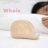 Rechargeable Voice Control LED Digital Alarm Clock Phone Holder with Temperature Display Build in Magnet for Easy Mount for Kids