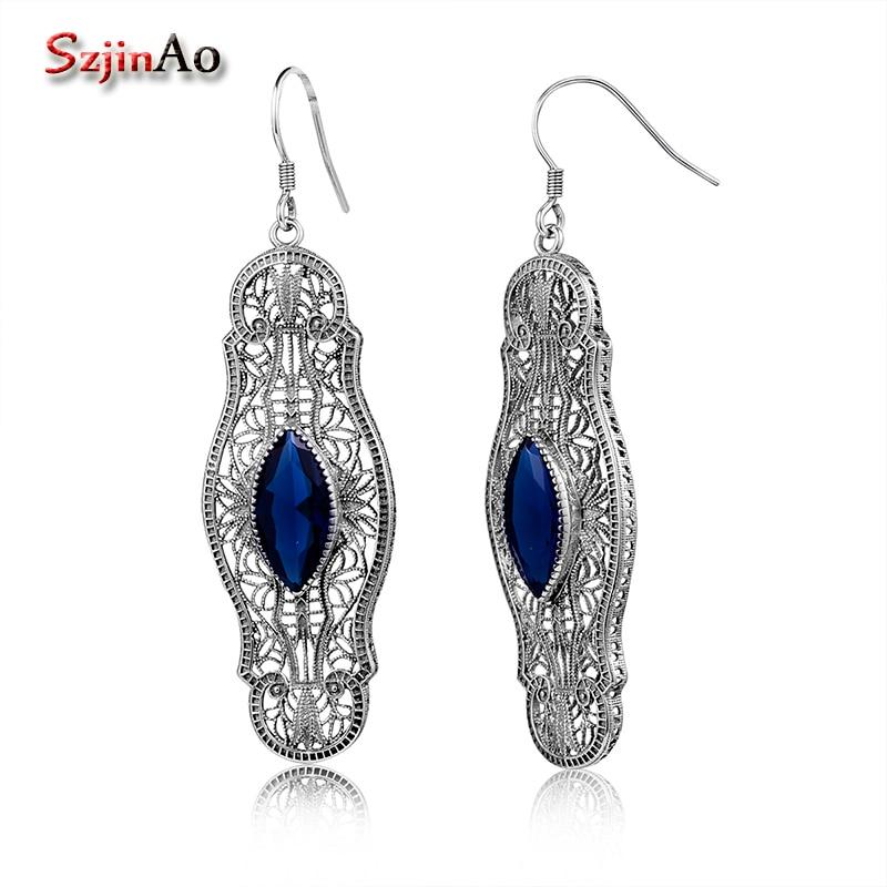 Szjinao длинные Серьги маркиза сапфир 925 серебро Кристаллические серьги для Для женщин Мода Винтаж ювелирные изделия ручной работы