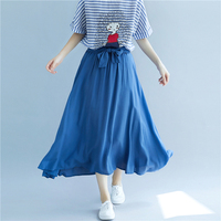 Office Lady Solid A line Skirts Womens Sashes Bow Pastel Long Skirt Vintage Wild Loose Slim Faldas Mujer Moda 2019 Jupe Femme