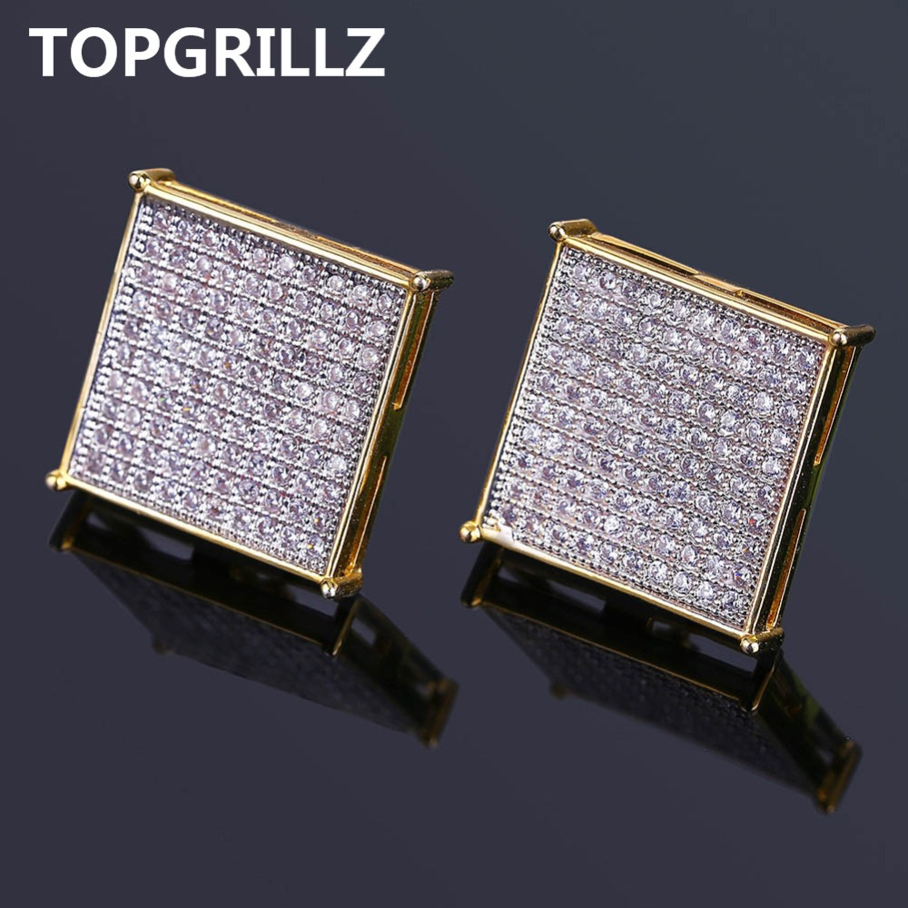 TOPGRILLZ Hip Hop Men's Bling Jewelry Earring Gold Color Iced Out Micro...