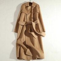 Winter Alpaca Coat Women Cashmere Wool Coats With Belt High Quality Camel