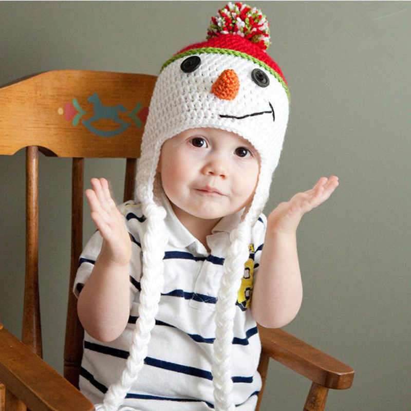 Clothing Sets Mother & Kids Obedient Adorable Snowman Baby Hat Handmade Children Ear Flap Beanies Cap Toddler Crochet Hats Baby Photo Props Hat Christmas Bh0876