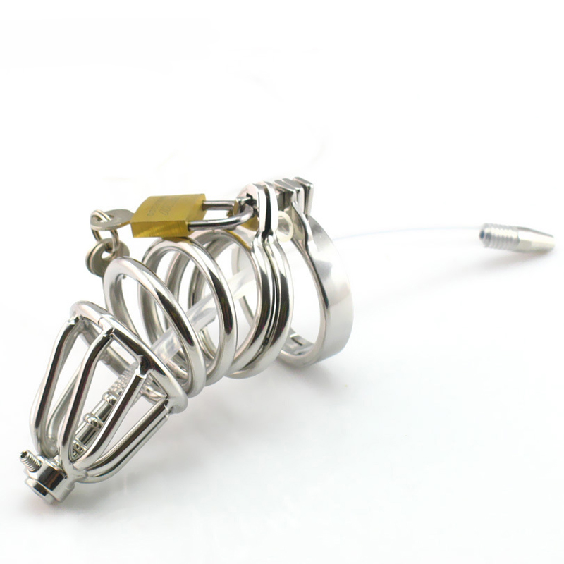 Male chastity devices stainless steel cock cage 5 size metal cock ring,The snap ring prevents falling off penis plug urethral jean anderson falling off the bone