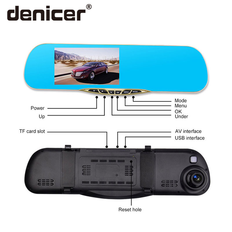 Denicer Dash Camera 5 0 Car Cvr Mirror Dual Lens Rear View Camera Rearview Dvr Auto
