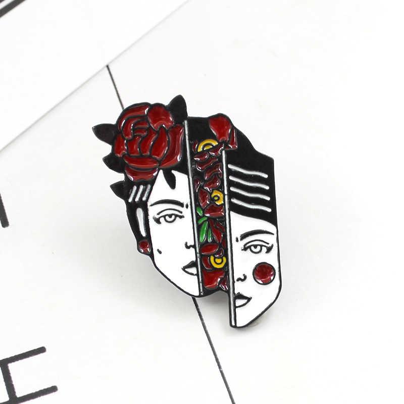 Trendy Rap Cartoon Kragen Pins Brosche Hip-Hop Charakter Kühlen Rapper Kalten gesicht Emaille Abzeichen Revers Pin Emaille Abzeichen
