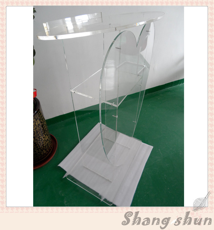 Clear High Grade Heart Love Church Acrylic Podium Heart Acrylic Pulpit Podium Stand Speaker Stand Lectern For Sale