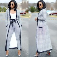 Новое поступление, комплект из 3 предметов, женский укороченный топ, брюки-карандаш и куртка, модный офисный женский элегантный лоскутный по...