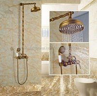 Antique Brass Shower Bath Faucet Sets Wall Mounted EXposed 8 Rainfall Shower Mixers With Hand Shower Sprayer Krs053