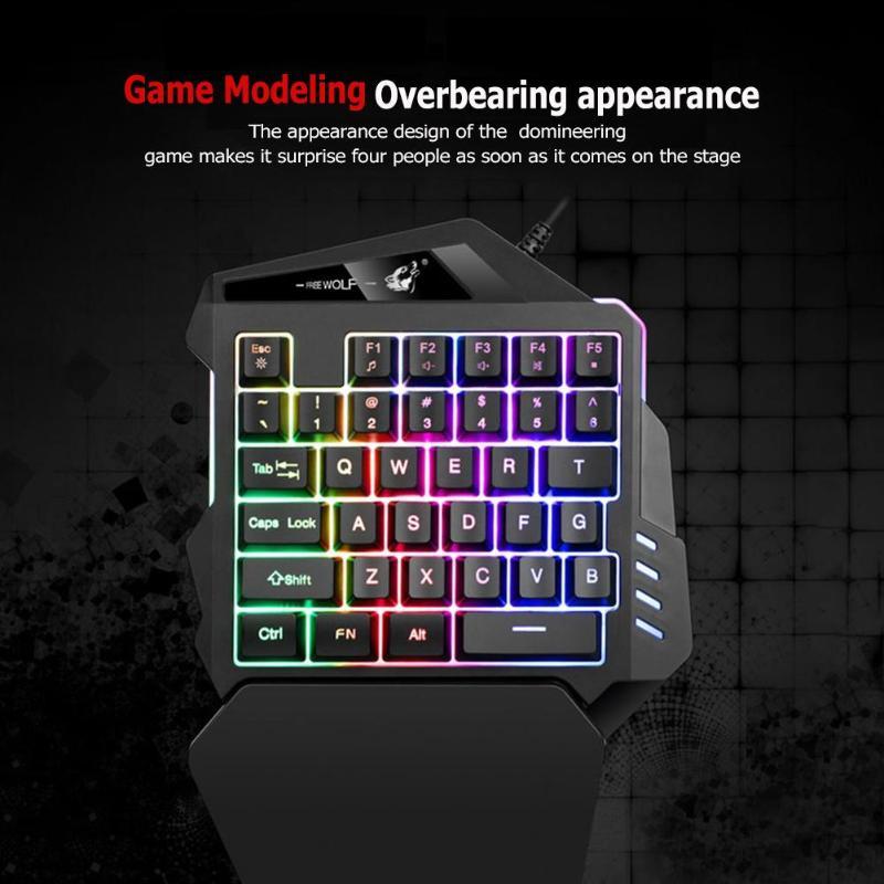 Backlit 35 Keys Usb Wired Keypad Single Hand Gaming Keyboard Mix Color Keypad For Pc Computer Desktop