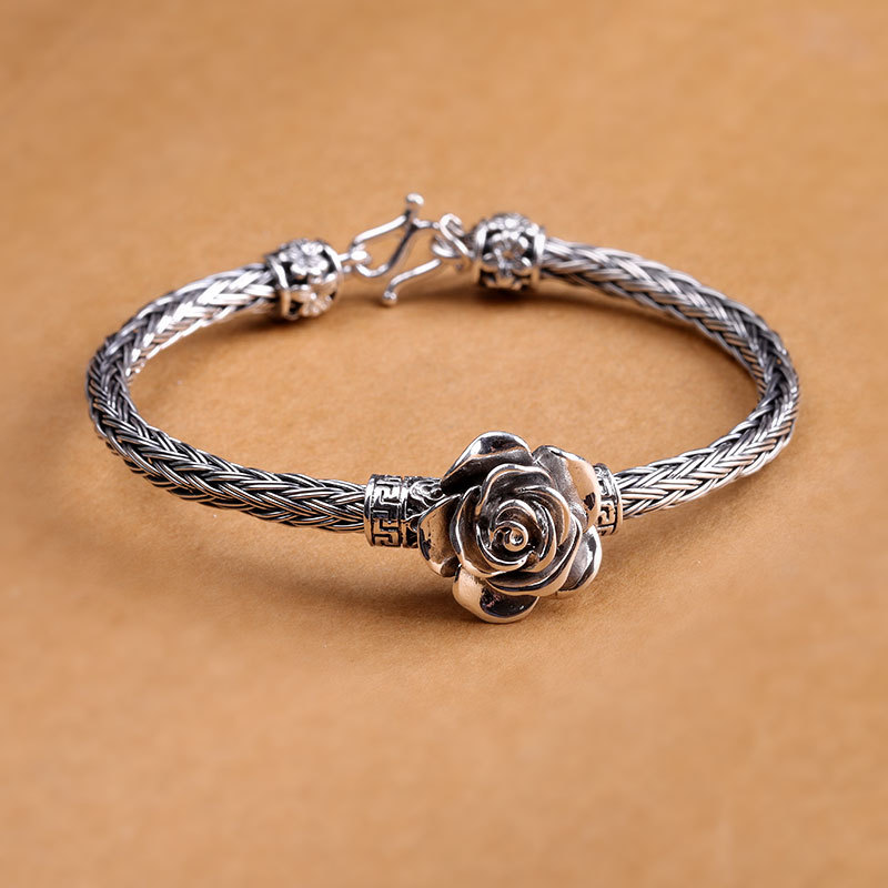 S999 Sterling Silver Retro Rose Bracelet Classic Wire cable Link Chain Thai Silver Female Bracelets Bangle