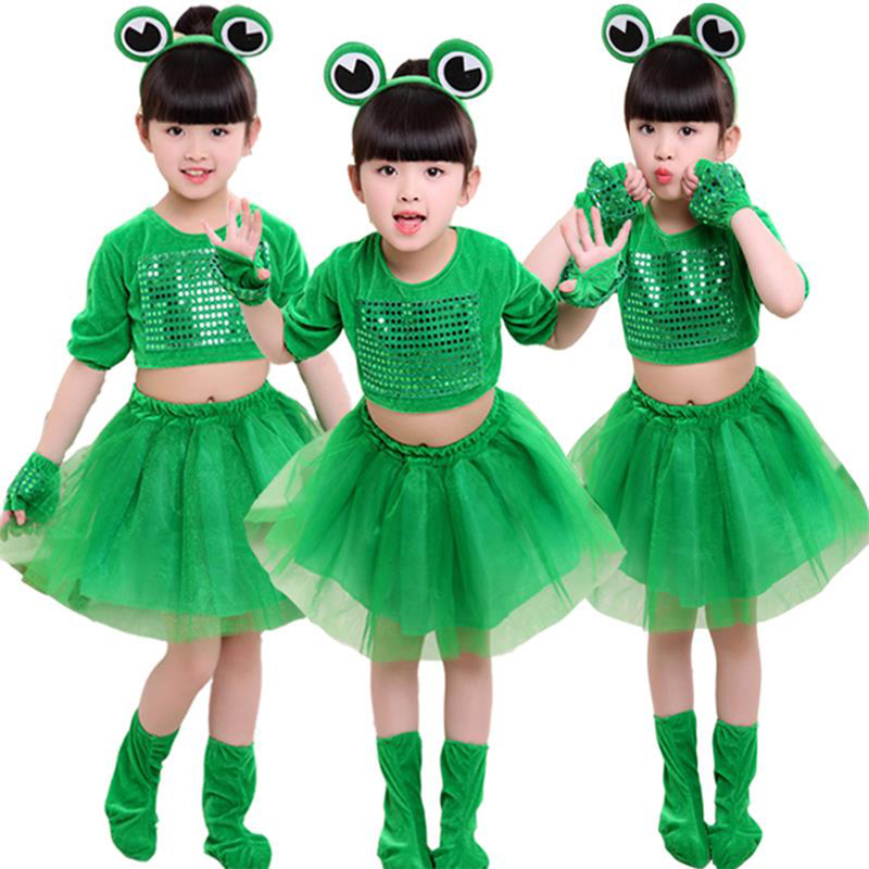 Children's Small Frog Performance Costume Green Long-sleeved Animal Clothing Sequined Tutu Skirt For Boys And Girls Tutu Skirt