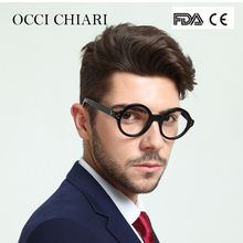 Здесь можно купить   OCCI CHIARI Retro Round Frame Brand Design Prescription Nerd Lens Medical Optical Glasses Frame black for Men Acetate CAPPAI Apparel Accessories