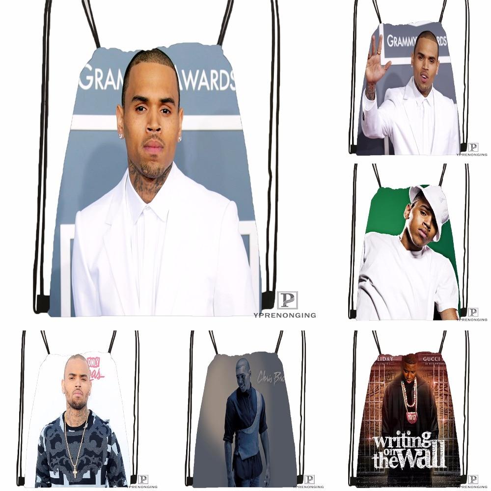 Custom Chris Brown Drawstring Backpack Bag Cute Daypack Kids Satchel (Black Back) 31x40cm#180531-02-02