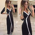 BKLD  Robe De Soiree 2017 Womens Vintage Tight Elegant Dress Sexy Deep V-Neck Bodycon Women Slim Office Dress Femme High Quality
