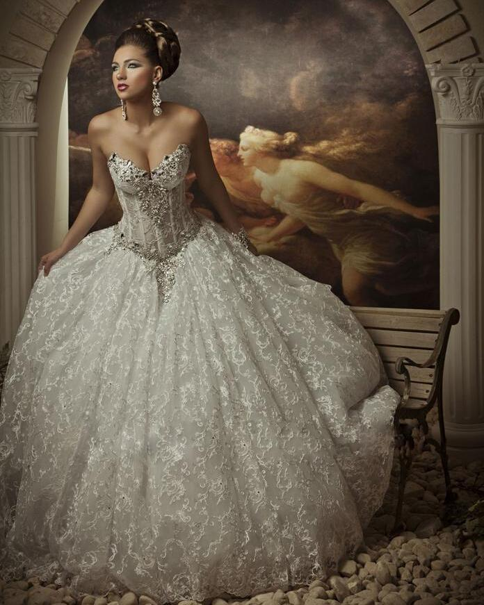New Custom Luxury Beaded Crystal Rhinestone Lace Princess Wedding
