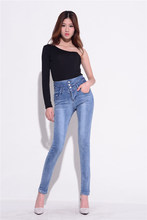 Jeans woman elastic skinny pencil pants denim jeans women slim fashion full length high waist trousers